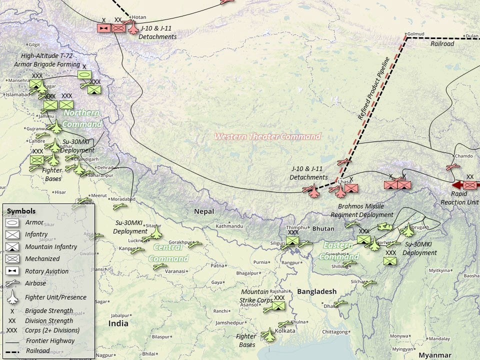 Sino-Indian Border Deployments (Units located via IHS Jane's Database August 2016. Does not include paramilitary units, People's Armed Police (PAP), or infrastructure still under construction). Graphical construction superimposed on Google Maps.
